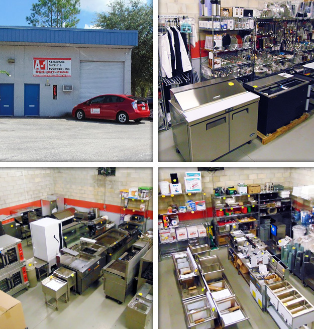 A-1 Restaurant Supply of Jacksonville FL, displaying a variety of ice bins, sinks and other equipment.